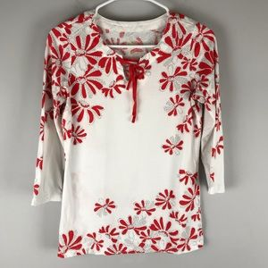Pendleton floral tie neck knit top white red S